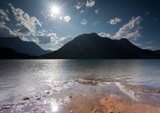 Abbassi il lago Kananaskis fotografia stock