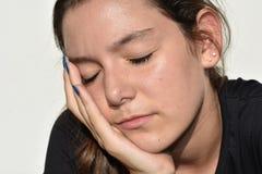 Abbastanza femminile sonnolento fotografia stock