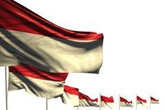 Abbastanza molte bandiere del Monaco hanno disposto la diagonale isolata su bianco con spazio per il vostro contenuto - tutta l'i illustrazione vettoriale