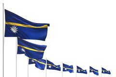 Abbastanza molte bandiere del Nauru hanno disposto la diagonale isolata su bianco con il posto per testo - tutta l'illustrazione  illustrazione di stock