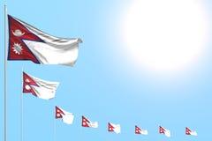 Abbastanza molte bandiere del Nepal hanno disposto diagonale su cielo blu con spazio per il vostro contenuto - tutta l'illustrazi illustrazione vettoriale