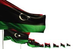 Abbastanza qualsiasi illustrazione della bandiera 3d di festività - la Libia ha isolato le bandiere ha disposto diagonale, l'illu illustrazione vettoriale