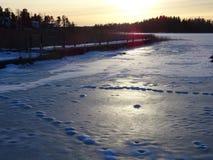 Abbastanza un wiev piacevole in Espoo appena prima che il sole va giù immagine stock