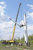 Abbau der Windkraftanlage Lizenzfreies Stockbild