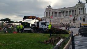 Abbau des Weihnachtsbaums Spelacchio vom Marktplatz Venezia, Ro Lizenzfreies Stockfoto