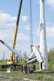 Abbau einer Windkraftanlage Lizenzfreie Stockfotos