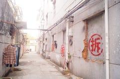Abbau von alten Wohngebäuden Lizenzfreies Stockbild