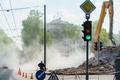 Abbau von Gebäuden in der Stadt Stockfoto