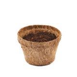 Abbaubarer Kokosnusstopf lokalisiert Lizenzfreie Stockbilder