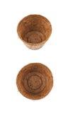 Abbaubarer Kokosnusstopf lokalisiert Stockfotografie