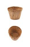 Abbaubarer Kokosnusstopf lokalisiert Lizenzfreie Stockfotografie