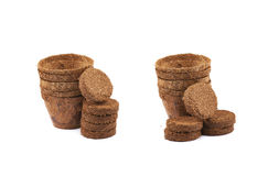 Abbaubarer Kokosnusstopf lokalisiert Stockfotos