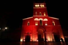 Abbaye d'Ainay durante el festival de luces Fotos de archivo libres de regalías