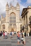Abbaye de Bath et Bath romains à Bath Angleterre Photographie stock libre de droits