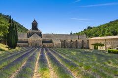 Abbaye de Senanque and lavender, France Royalty Free Stock Photos