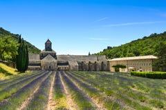 Abbaye de Senanque and lavender, France Stock Photos