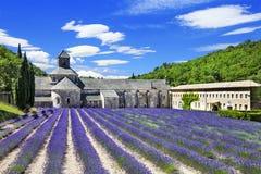 Abbaye de Senanque med det blommande lavendelfältet Royaltyfri Fotografi