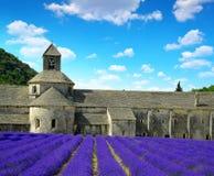 Abbaye de Senanque med lavendelfältet Fotografering för Bildbyråer
