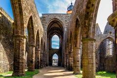 Abbaye Helgon-Mathieu de Bot-Terre, Brittany Bretagne, Frankrike Fotografering för Bildbyråer