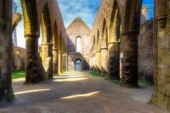 Abbaye Helgon-Mathieu de Bot-Terre, Brittany Bretagne, Frankrike Arkivbilder