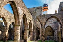 Abbaye Helgon-Mathieu de Bot-Terre, Brittany Bretagne, Frankrike Arkivfoton