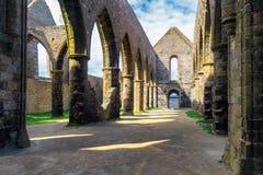 Abbaye Helgon-Mathieu de Bot-Terre, Brittany Bretagne, Frankrike Arkivbild