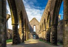 Abbaye Helgon-Mathieu de Bot-Terre, Brittany Bretagne, Frankrike Royaltyfri Bild