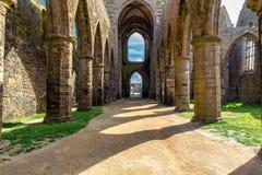 Abbaye Helgon-Mathieu de Bot-Terre, Brittany Bretagne, Frankrike Royaltyfri Fotografi