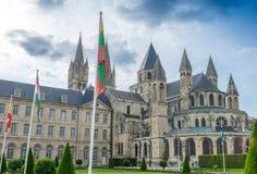 Abbaye Hommes aux. (la abadía de los hombres) en Caen, Calvados, Normandía, Fra Fotos de archivo libres de regalías