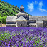 Abbaye mit Lavendelfeld, Provence, Fran Stockfotografie