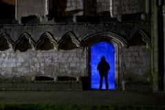 Abbazia delle fontane alla notte con la siluetta Fotografie Stock Libere da Diritti