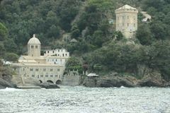 Abbazia di San Fruttuoso. The Abbey of San Fruttuoso is on the Italian Riviera between Camogli and Portofino. It is the seat of the Catholic parish of the same royalty free stock photos