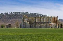 Abbazia di San Galgano veduta da fuori, l'Italia fotografia stock