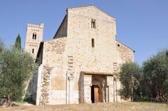 Abbazia di Sant Antimo,本尼迪克特的修道院蒙达奇诺,托斯卡纳,意大利 免版税库存照片