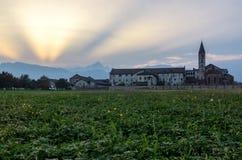 Abbazia di Staffarda Piedmont Royaltyfri Foto