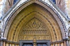 Abbazia di Westminster portale del timpano, Londra, Inghilterra Fotografie Stock Libere da Diritti