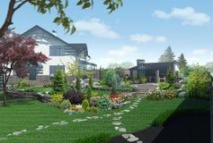 Abbellendo il panorama del giardino, 3D rendono Fotografie Stock Libere da Diritti