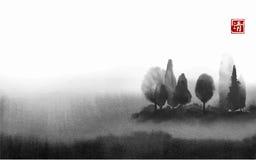 Abbellisca con gli alberi in nebbia disegnata a mano con inchiostro nello stile asiatico su fondo bianco Prato nebbioso Orientale illustrazione vettoriale