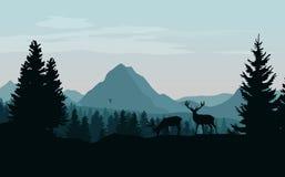 Abbellisca con le montagne, la foresta e le siluette blu degli alberi a Fotografia Stock Libera da Diritti