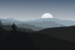 Abbellisca con le siluette scure delle colline e della luna Immagini Stock