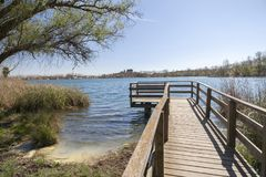Abbellisca il lago con l'allerta di legno a Banyoles, Catalogna, Spagna Immagini Stock Libere da Diritti