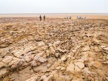 Abbellisca intorno al lago Dallol nella depressione di Danakil, Ehtiopia immagini stock libere da diritti