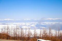 Abbellisca la linea della nuvola di vista con le alpi del Giappone sulla quinta stazione il Mt Fuji Fotografie Stock