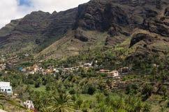 Abbellisca la vista sulla valle vicino alla città di Valle Gran Rey Immagine Stock Libera da Diritti