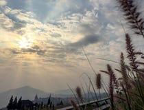 Abbellisca le immagini delle montagne e dei campi verdi con il cielo dorato di mattina/spazio della copia Fotografia Stock