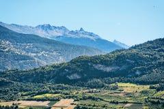 Abbellisca in Sion con le montagne Valais capitale Svizzera delle alpi di Bernese Fotografia Stock Libera da Diritti