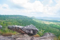 Abbellisce il parco nazionale di Pha Taem di mattina Il confine fra Tha Immagine Stock Libera da Diritti