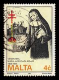 Abbess Venerable Maria Adecodata Pisani, maltese nun. Malta - CIRCA 1991: A stamp printed in Malta shows Abbess Venerable Maria Adecodata Pisani, maltese nun royalty free stock photos