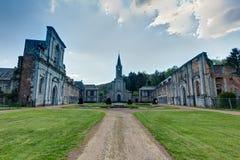 Abbey Aulne Thuin Landelies, België royalty-vrije stock afbeelding