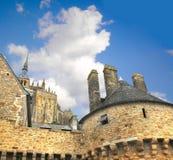 Abbey av Mont Sanktt Michel. Arkivfoton